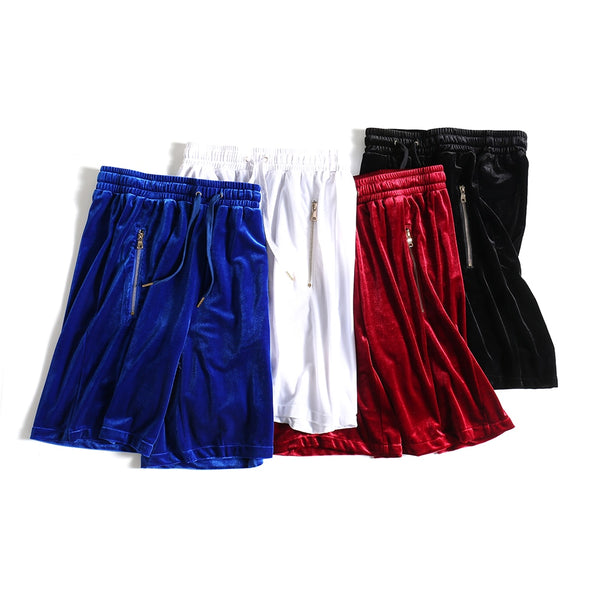 Mens Velvet Shorts Hip-Hop Short Kanye West