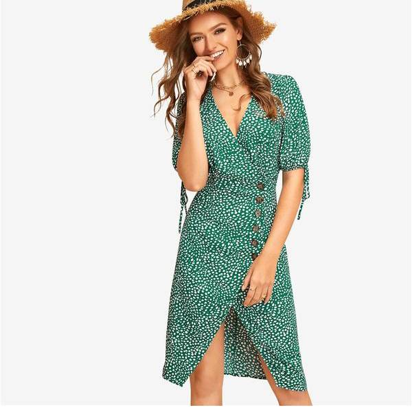 Green Knot Cuff Split Hem Dalmatian Tea Boho Dress Women 2019