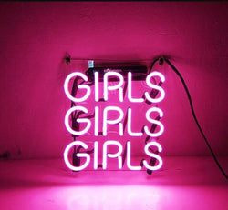 Custom Pink Girls Glass Neon Light Sign Beer Bar