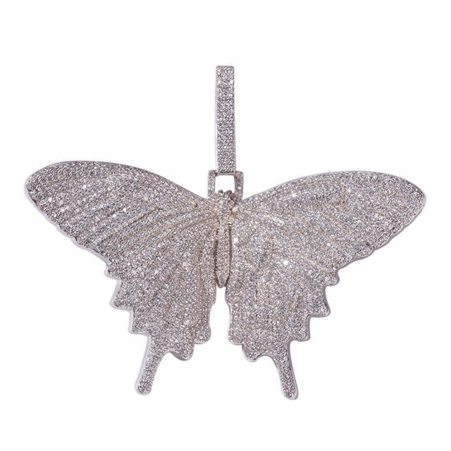 Charms Iced Out Butterfly Pendant