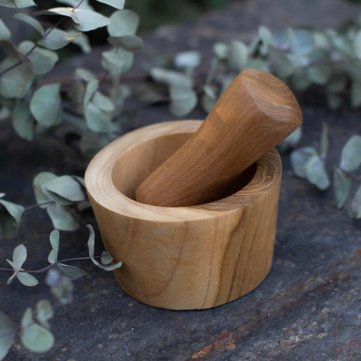 Wooden Mortar & Pestle