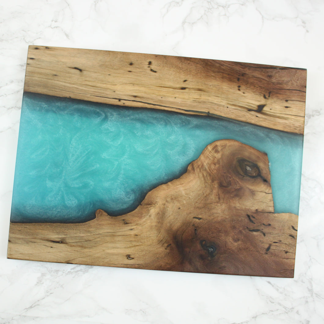 Bora Bora Blue Swirl Resin Serving Board