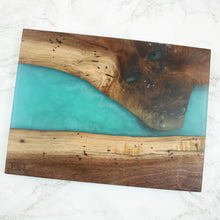Load image into Gallery viewer, Bora Bora Blue Swirl Resin Serving Board