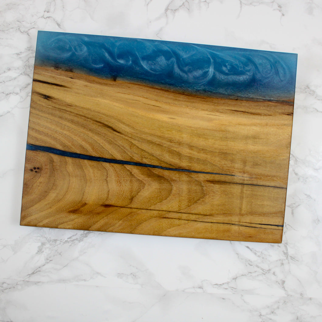 Maui Blue Edge Swirl Resin Serving Board