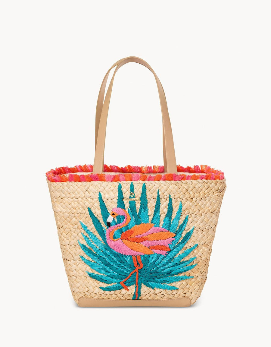 Moreland Embroidered Straw Tote