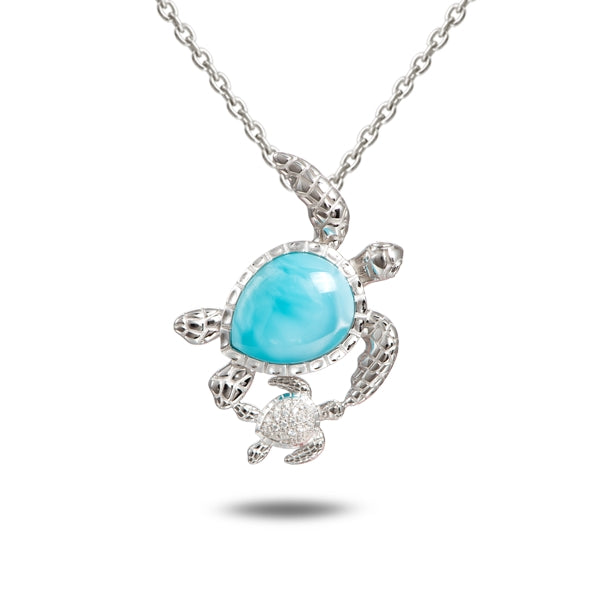 Alamea Hawaii Larimar Turtle with Baby Pendant
