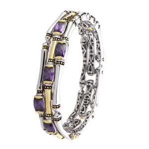 Open image in slideshow, Canias Cor Collection Bracelet Three Row Hinged Bangle