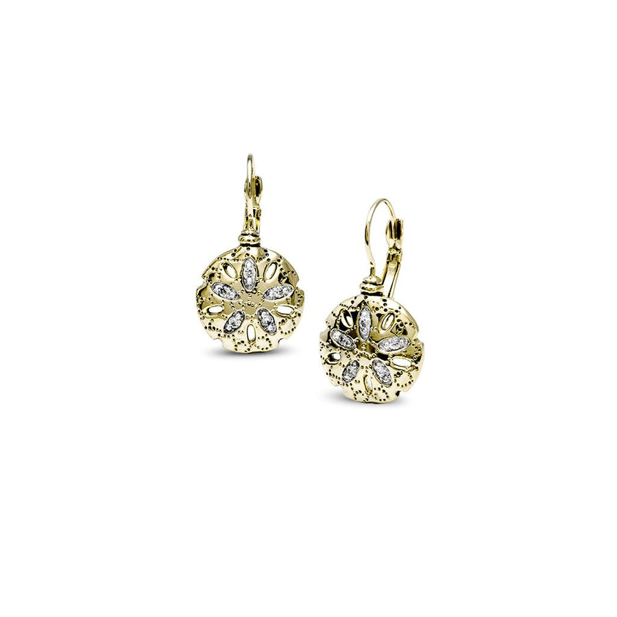 Seaside Sand Dollar CZ French Wire Earrings