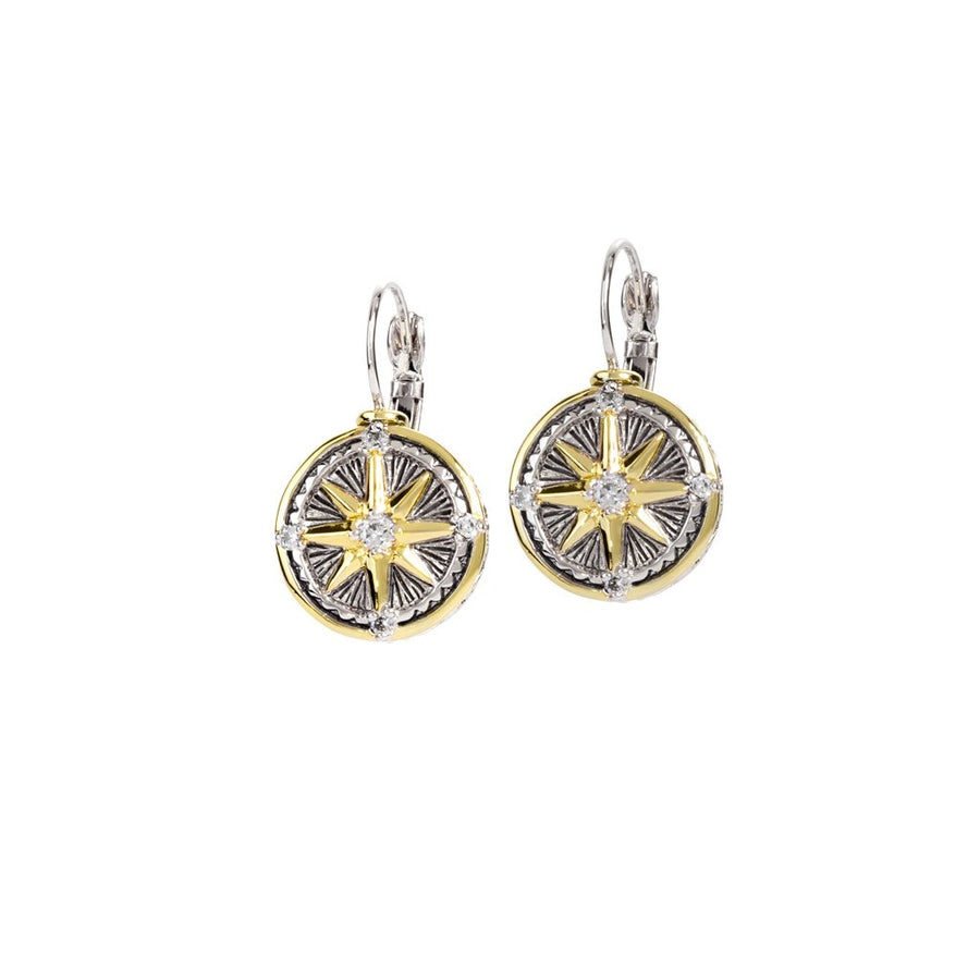 Ocean Images Seaside Collection CZ Compass Earrings