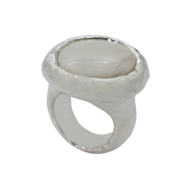 Simon Sebbag Round Hammered Ring with Mother of Pearl RS10/MOP