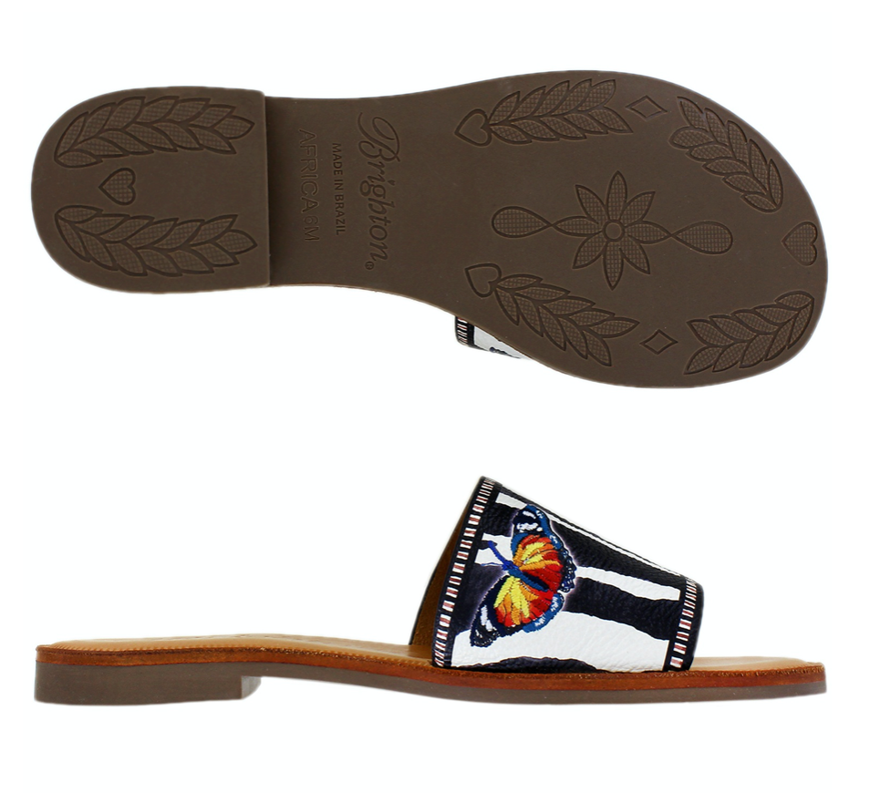 Africa Sandals Zebra Printed Leather