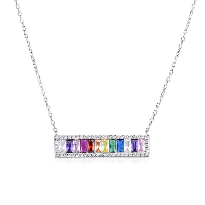 Silver Rainbow CZ Baguette Bar Necklace
