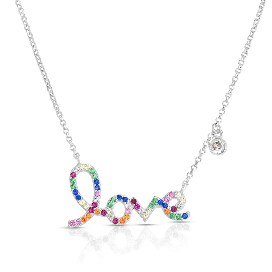 Silver Rainbow CZ Script Love Necklace