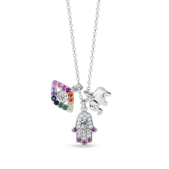 Silver Rainbow CZ Charm Dangle Necklace