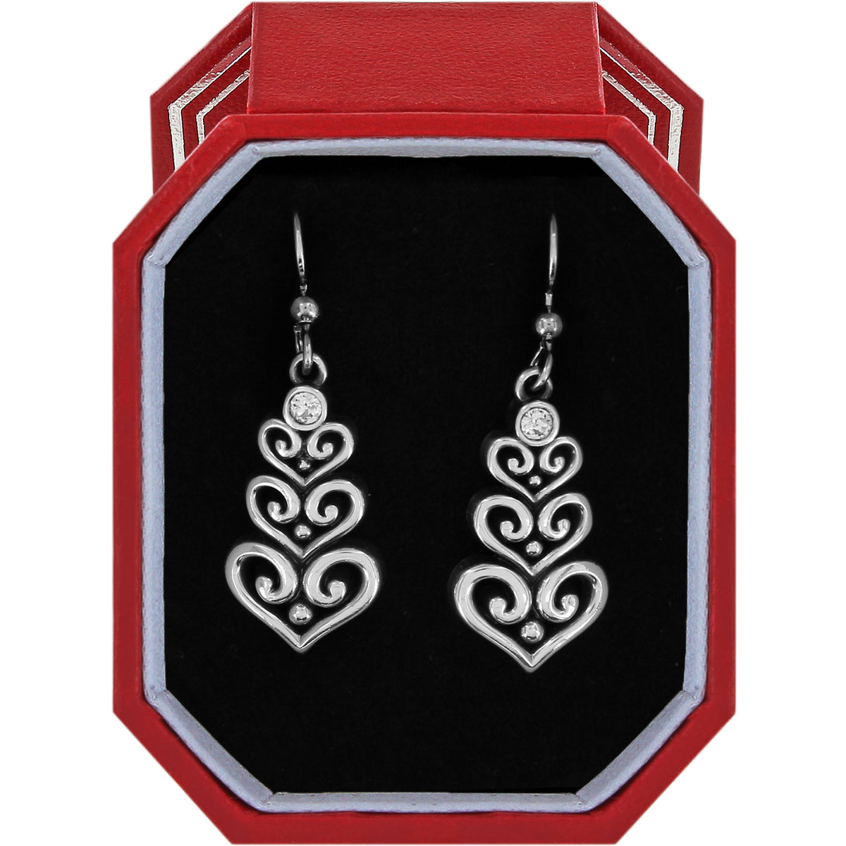 Brighton Alcazar Heart Trio French Wire Earrings Gift Box