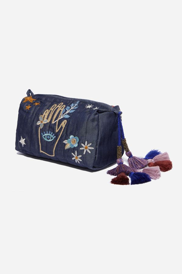 Johnny Was Denim Quilted Makeup Bag