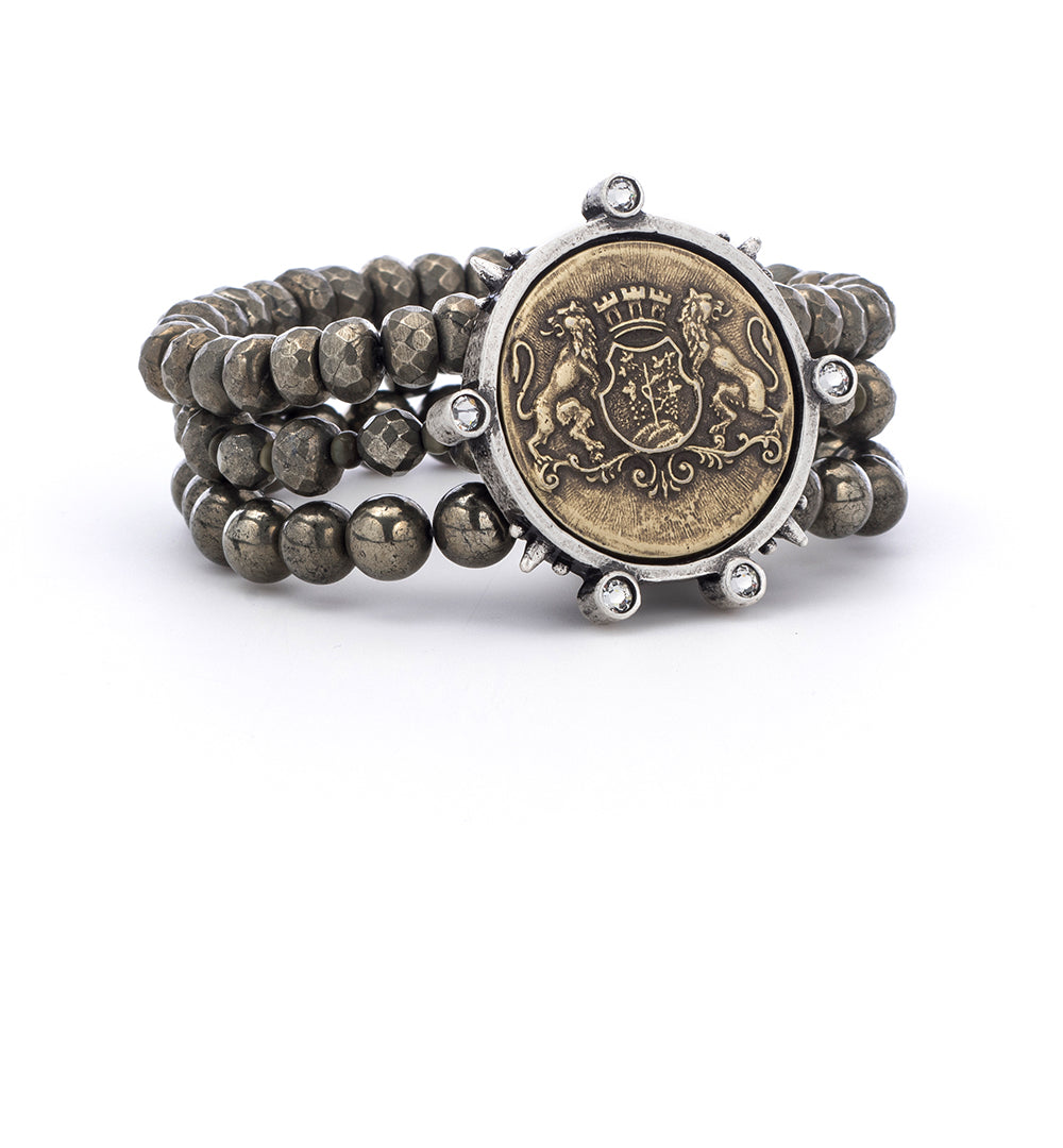 Triple Strand Pyrite with Aime Medallion