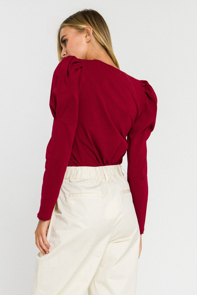 Burgundy Bombshell Puff Sleeve Top