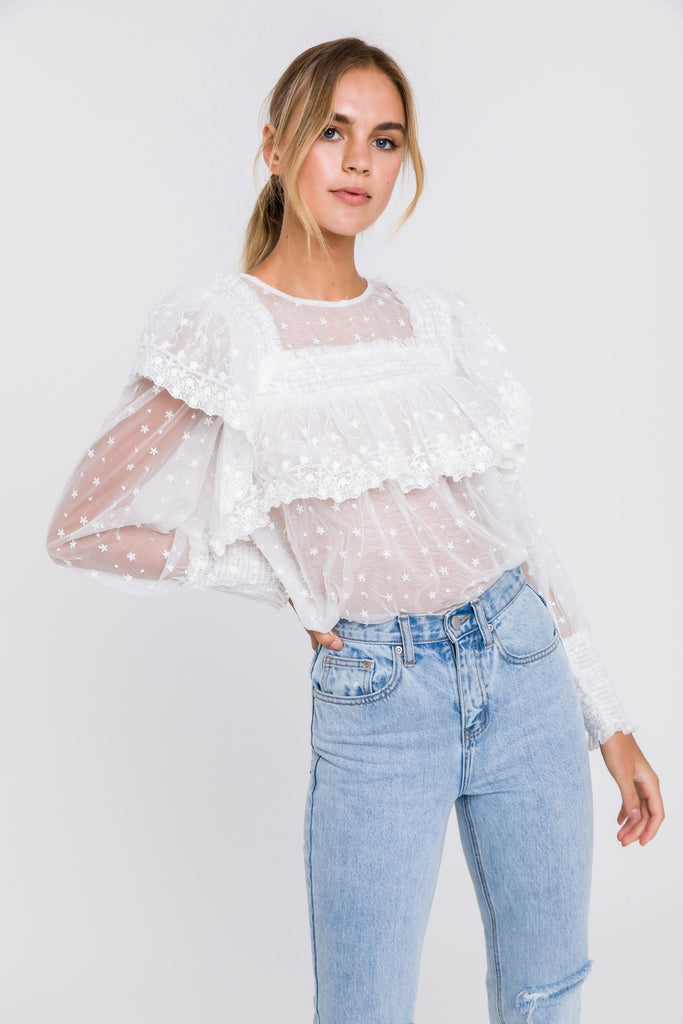*Restocked* White Roses Lace Blouse