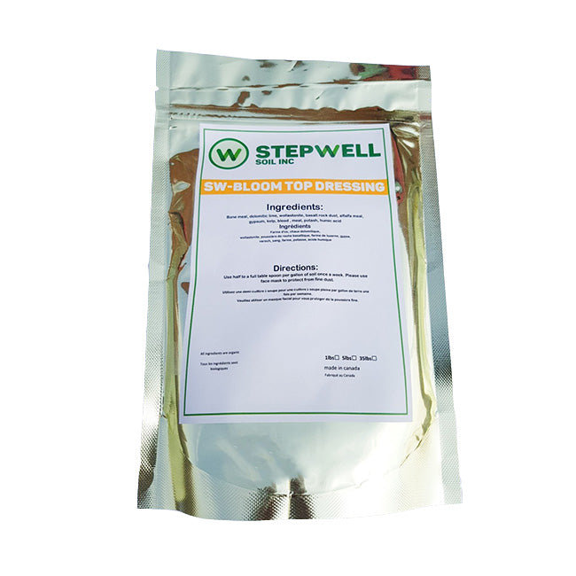 Stepwell Soil Bloom top dressing is a highly sustainable blend of organic certified amendments. The ingredients are similar as the veg top dressing but the ratios are made to cater to plants in flower stage that require higher amounts of phosphorus and potassium.