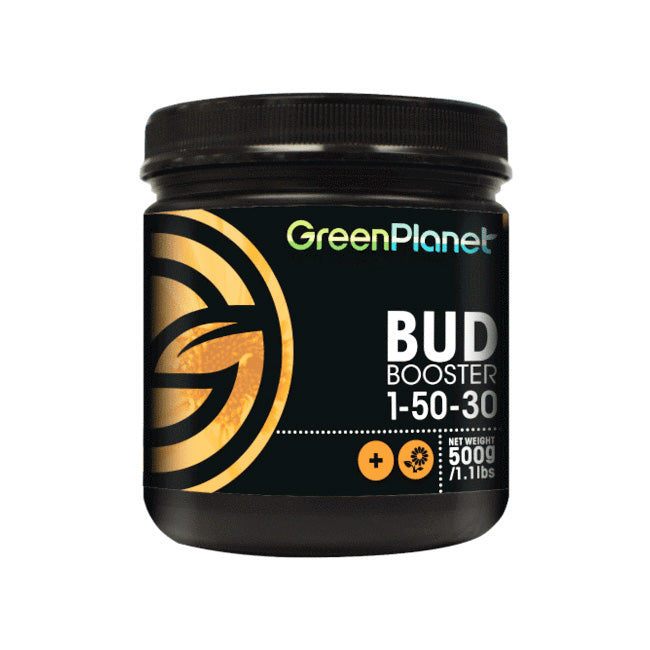 Green Planet Nutrients Bud Booster - 500ml Phosphorus and potassium additive to promote heavy flowering. Bud Booster is a specialty flowering additive used in conjunction with your regular fertilizer program. It helps promote blooming and assists in the plant's metabolism during the flowering stage.