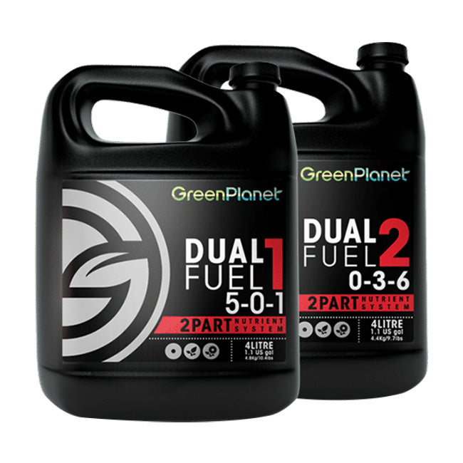 Green Planet Nutrients Dual Fuel Dual Fuel is a 2-Part nutrient system formulated for the professional grower. Designed to be used throughout the vegetative and bloom stages, this user-friendly liquid fertilizer promotes vigorous growth and floral production.