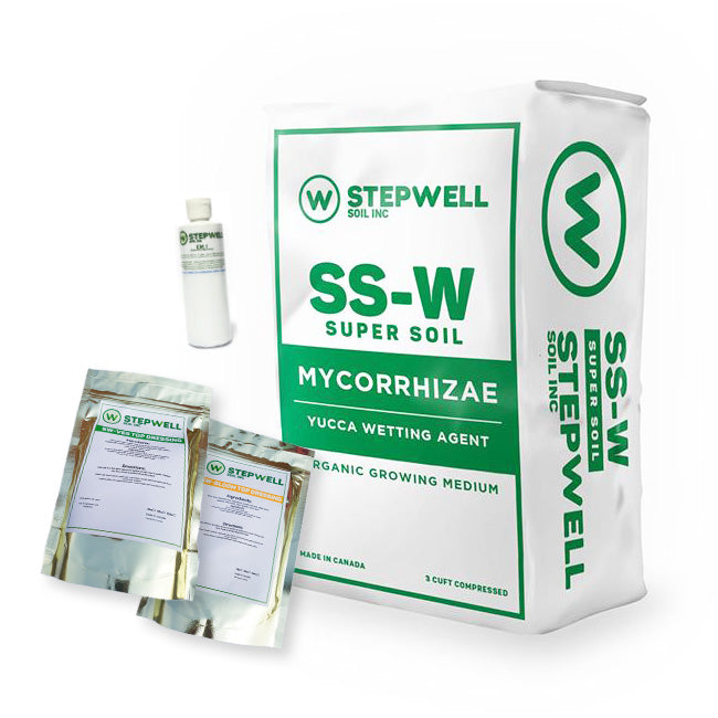 Stepwell Super Soil Organic Grow Kit Get professional results with our Organic Grow Kit. Every item in this kit is made by Stepwell Soil. With the SS-W alone, a gardener can get amazing results but with this kit, it will enhance your garden so that you can cater to your individual strains specific needs or adding a little extra to bring out special expressions in your cultivar.