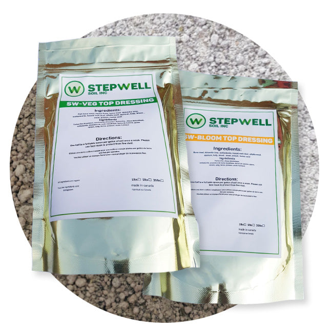 Stepwell Veg Top Dressing Stepwell Bloom Top Dressing Stepwell Super Soil Organic Grow Kit Get professional results with our Organic Grow Kit. Every item in this kit is made by Stepwell Soil. With the SS-W alone, a gardener can get amazing results but with this kit, it will enhance your garden so that you can cater to your individual strains specific needs or adding a little extra to bring out special expressions in your cultivar.
