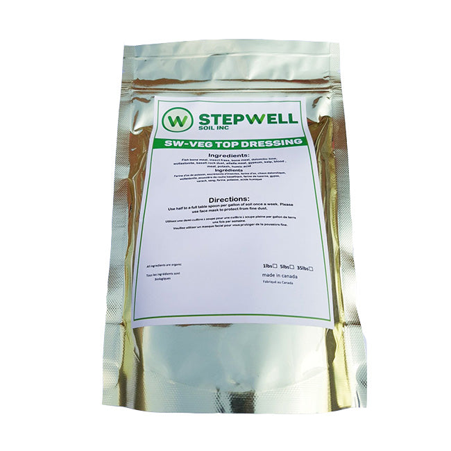 Stepwell Soil Veg top dressing is a highly sustainable blend of organic certified amendments. The ingredients are similar as our bloom top dressing but ratios are made to cater to plants in vegetative stage that require higher amounts of nitrogen.