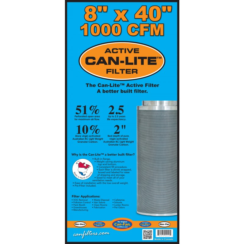 "Can-Fan Can-Lite Carbon Filter 8"" x 40"" / 1000 CFM"