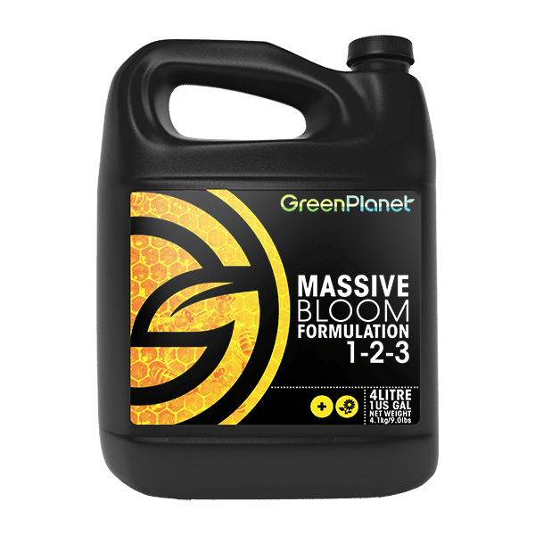 Green Planet Nutrients Massive Bloom Formulation is our premier flowering additive formulated with all of the necessary macro and microelements required to achieve an increase in flower size, as well as providing several additional beneficial properties.