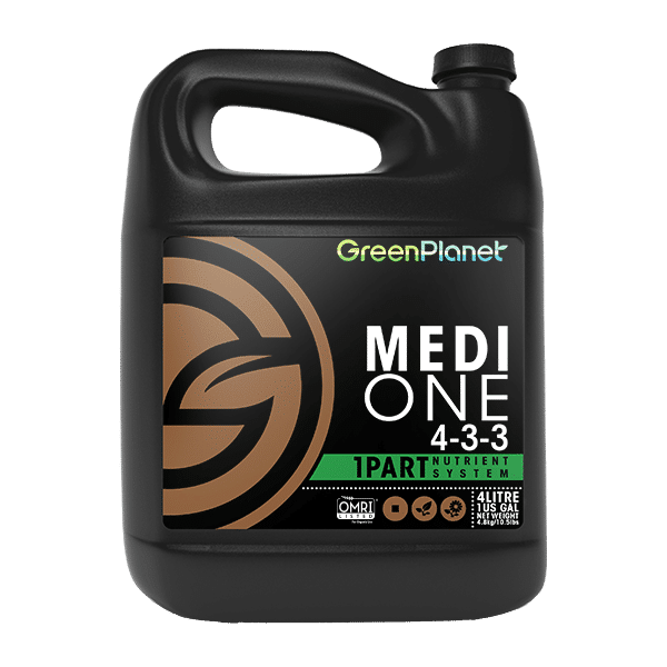 Green Planet Nutrients Medi One Medi One is our 1-part base nutrient system formulated with readily available macro and microelements certified for organic use. Expect vigorous vegetative growth and vibrant floral production with only one bottle. This is the base for the Medi One Feed Program