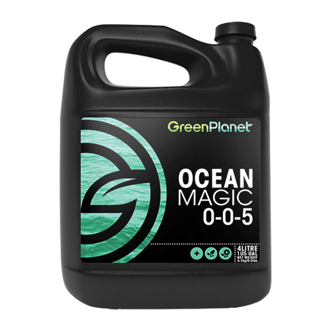 Green Planet Nutrients OCEAN MAGIC is an all-natural marine algae extract plant food. Ocean Magic can be used in foliar feeding or direct root feeding.