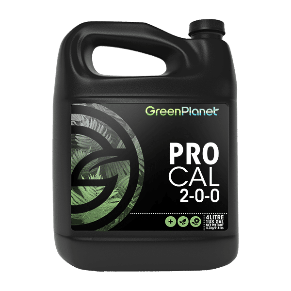 Green Planet Nutrients Pro Cal Calcium and magnesium supplement to provide essential elements for rapid growth. Pro Cal is an excellent supplemental source of essential elements that plants require at all stages of growth. Our formula provides readily available calcium and magnesium, as well as iron, nitrogen, boron, and zinc to ensure your plants do not come up short when they are ready for rapid growth.