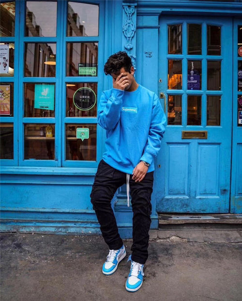 Supreme Blue Logo Sweatshirt