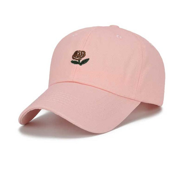 FLYBER Roses Embroidery for Men Baseball Cap Women Summer Sun Caps Snapback Hats Hip Hop Outdoor Adjustable Dad Hat