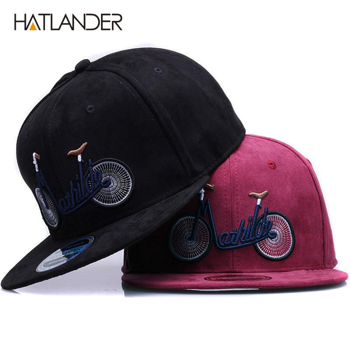 [HATLANDER]2018 new casual suede baseball caps for men women embroidery bicycle flat bill hip hop hats girls boys snapback cap