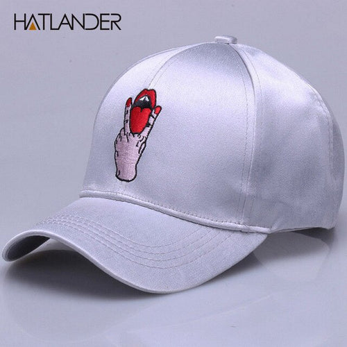 [HATLANDER]New Fashion silk luster baseball caps hip hop snapback cap for girls boys embroidery red lip curved gorras hats women