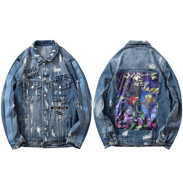 Men Hip Hop Denim Jacket Ripped Holes Vintage Jacket Jeans Leaf Paint  Embroidery Letter 2019 Streetwear Denim Jacket Distressed