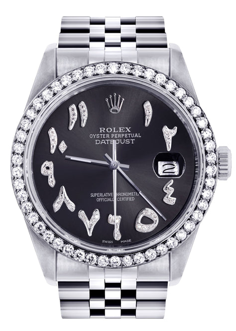 Rolex Datejust Watch Custom Arabic Diamond Dial
