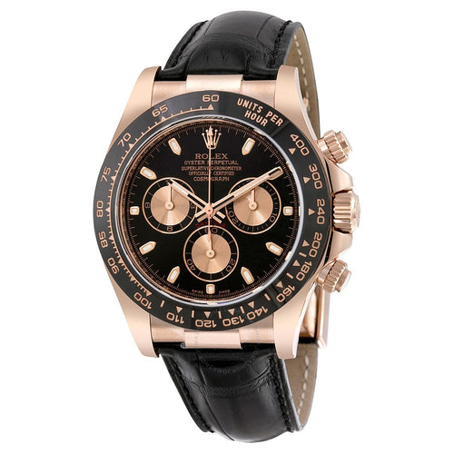 Rolex Cosmograph Daytona Black Dial 18K Rose Gold Automatic Men's Watch