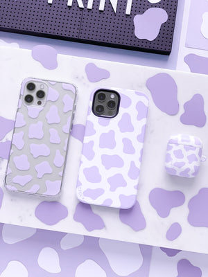 COW PRINT LILAC CLEAR CASE - thefonecasecompany