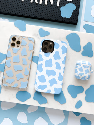 COW PRINT BLUE CLEAR CASE - thefonecasecompany