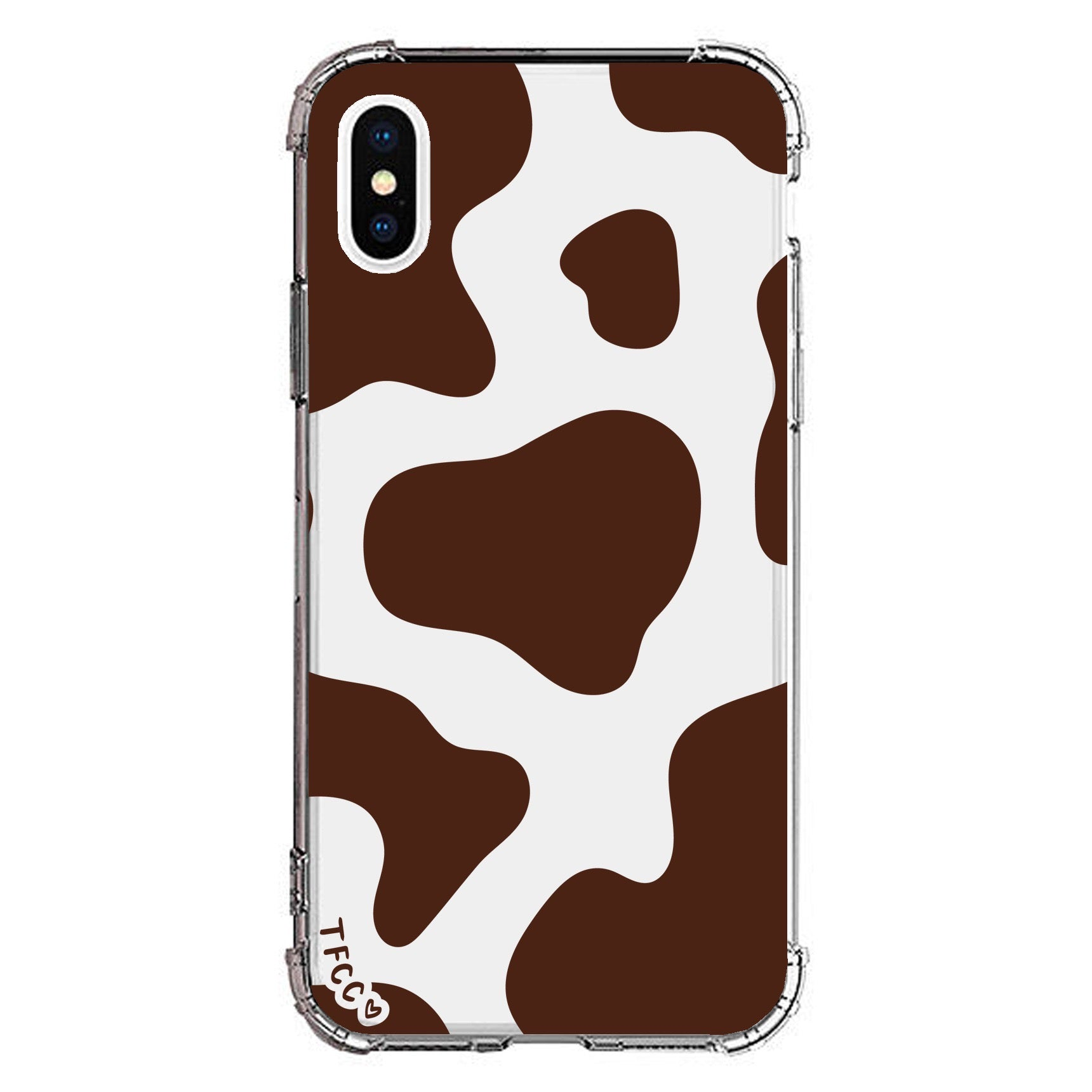 COW PRINT BROWN CLEAR CASE - thefonecasecompany
