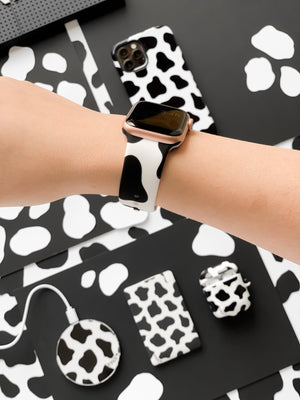 Cow Print Black Apple Watch Strap - thefonecasecompany