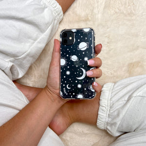 STARS AND MOON CELESTIAL WHITE CLEAR CASE - thefonecasecompany