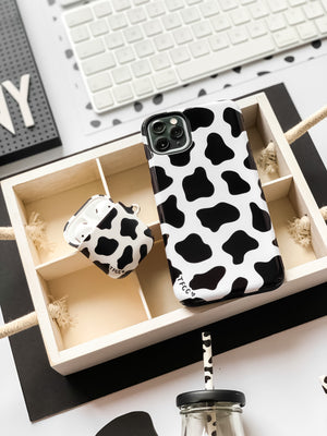 Cow Print Black AirPods Case - thefonecasecompany