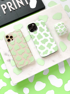 COW PRINT GREEN CLEAR CASE - thefonecasecompany