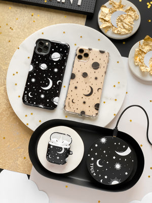 STARS AND MOON CELESTIAL BLACK CLEAR CASE - thefonecasecompany
