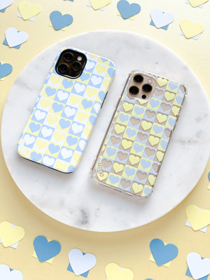 BLUE AND YELLOW HEART CHECK CASE - thefonecasecompany